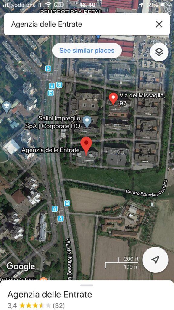 Agenzia delle Entrate via dei Missaglia office - how to go from Bocconi University zoom in